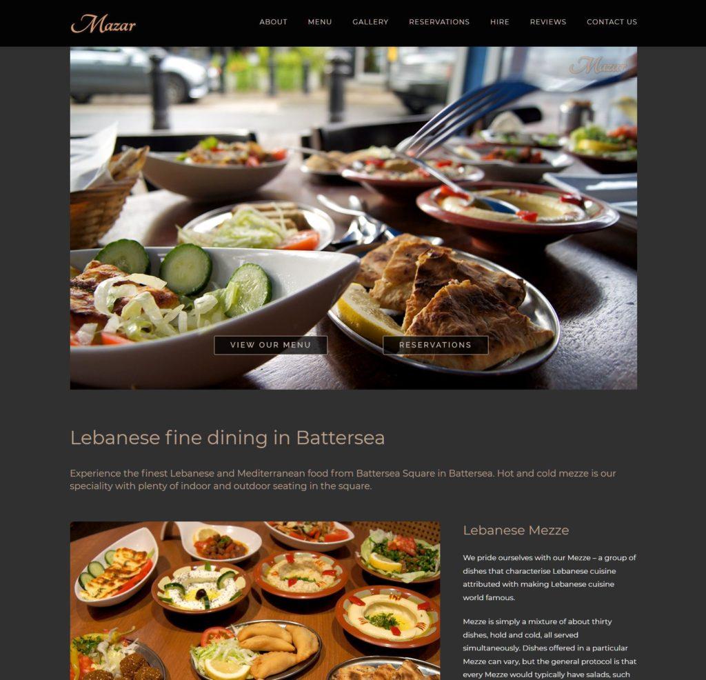 Mazar Restaurant Web Page