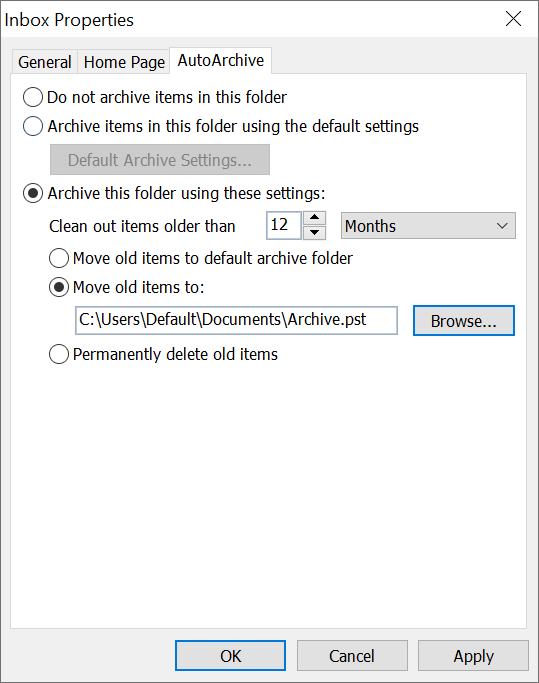 Outlook Auto Archive Window