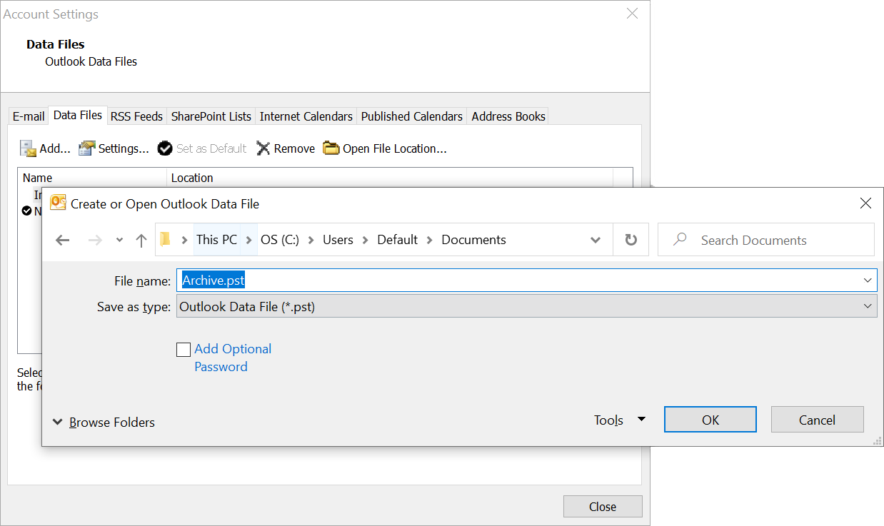 Outlook Data File Screenshot